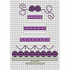 Purple Wedding Cake Cross Stitch Card Kit