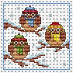Christmas Owls Cross Stitch Card Kit