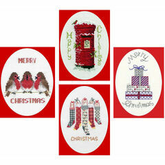 Favourites Collection Set Of 4 Christmas Card Cross Stitch Kits