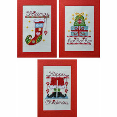 Christmas Stockings, Presents & Santa Cross Stitch Card Kits (Pack B)