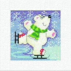 Polar Bear Square Christmas Card Cross Stitch Kit