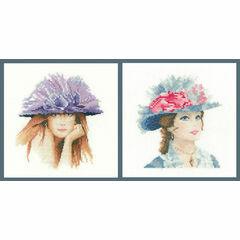 Set Of Two Elegance Miniature Cross Stitch Kits - Miranda And Maria