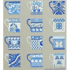 Blue Cups Sampler Half Cross Stitch Kit
