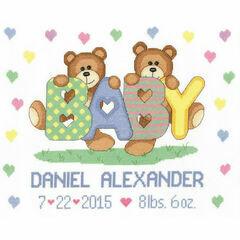Teddy Baby Birth Announcement Cross Stitch Kit
