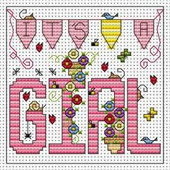 It's A Girl Cross Stitch Card Kit