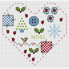 Christmas Heart Cross Stitch Card Kit