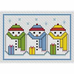 Snowman Snuggle Cross Stitch Card Kit
