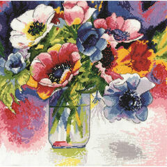 Watercolour Anemones Cross Stitch Kit