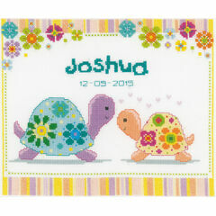 Colourful Turtles Birth Record Cross Stitch Kit