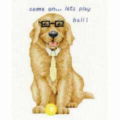 Golden Retriever Let's Play Ball Cross Stitch Kit