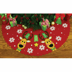Reindeer Joy Felt Applique Tree Skirt Kit