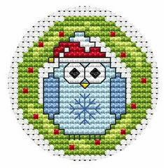 Twitt Wreath Christmas Card Cross Stitch Kit