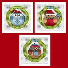 Christmas Wreath Cross Stitch Card Kits - Set Of 3