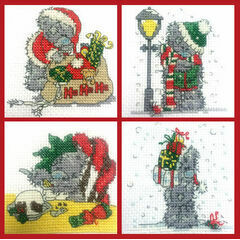 Set Of 4 Mini Tatty Teddy Christmas Cross Stitch Kits (set 2)