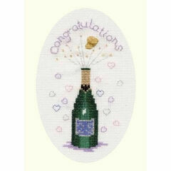 Champagne Congratulations Cross Stitch Card Kit