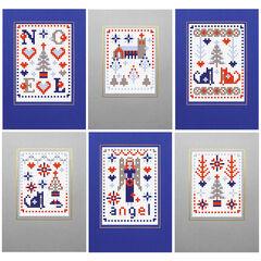 Xmas Blue Cross Stitch Card Kits (Set of 6)
