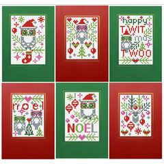 Happy Twitmas Twoo Cross Stitch Card Kits (Set of 6)