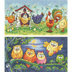 Happy Hens & Hoot Of Owls Set Of 2 Cross Stitch Kits
