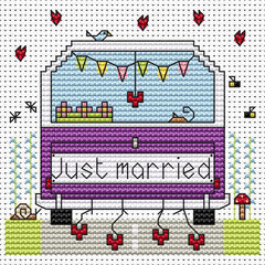 Just Married Campervan Cross Stitch Card Kit