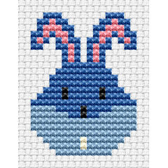 Easy Peasy Bunny Head Blue Cross Stitch Kit