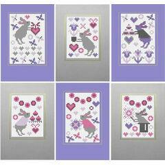Bunny Rabbit Cross Stitch Card Kits (set of 6)