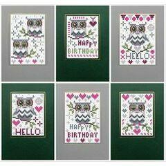 Happy Birthday Owl Cross Stitch Card Kits (set of 6)
