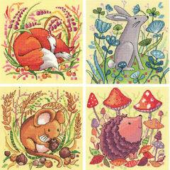 Set Of 4 Woodland Creatures Cross Stitch Kits