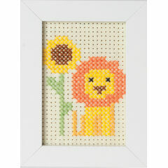 Lion Felt Cross Stitch Kit With Frame
