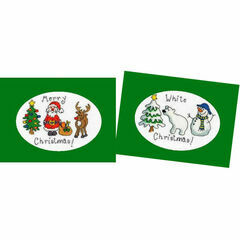 Merry Christmas & White Christmas - Set of 2 Cross Stitch Card Kits