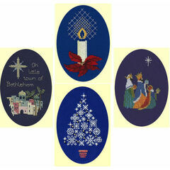 Blue Set Collection Christmas Card Cross Stitch Kits