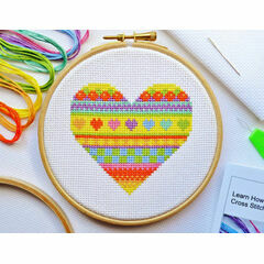 Beginners Heart - Learn How To Cross Stitch Complete Tutorial Kit