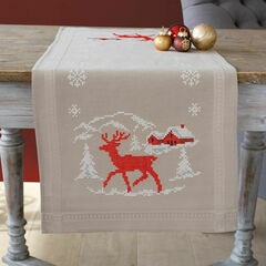 Norwegian Winter Printed Cross Stitch Table Runner Kit