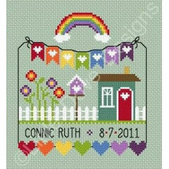 Rainbow Birth Sampler Cross Stitch Kit