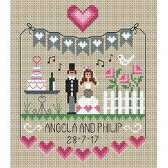 Pink Hearts Wedding Sampler Cross Stitch Kit