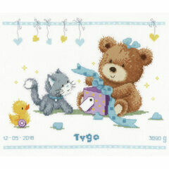 Bear & Present Birth Sampler Cross Stitch Kit
