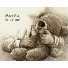 Teddy Bear Birth Sampler Cross Stitch Kit
