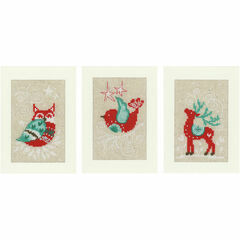 Winter Scenes Cross Stitch Christmas Card Kits (Set Of 3)
