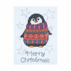 Flo Penguin Cross Stitch Christmas Card Kit