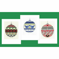 Christmas Baubles Cross Stitch Card Kits - Set Of 3