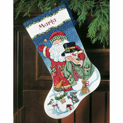 Santa & Snowman Stocking Cross Stitch Kit