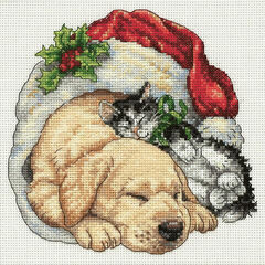 Christmas Morning Pets Cross Stitch Kit