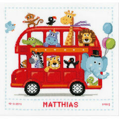 Funny Bus Cross Stitch Birth Sampler Kit