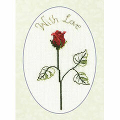 Red Rose Cross Stitch Card Kit