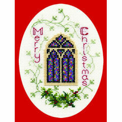 Stained Glass Window Christmas Cross Stitch Card Kit