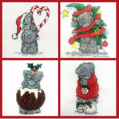 Set Of 4 Mini Tatty Teddy Christmas Cross Stitch Kits (set 1)