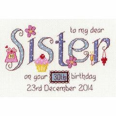 Sister Birthday Cross Stitch Kit