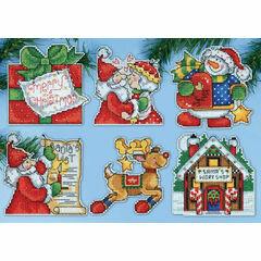 Santa's Workshop Cross Stitch Ornaments Kit (Set of 6)