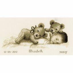 Sleeping With Teddy Bear Birth Sampler Cross Stitch Kit