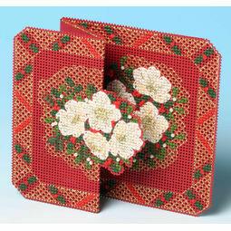Christmas Rose Card 3D Cross Stitch Kit