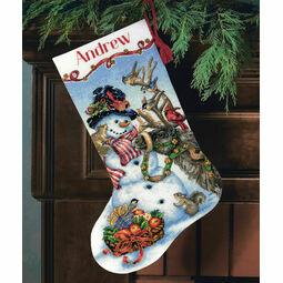 Snowman Gathering Stocking Cross Stitch Kit